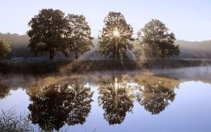 Wschód słońca nad jeziorem, Chojnowski Park Krajobrazowy, Mazowsze