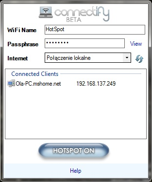 Connectify beta, czyli hotspot w domu