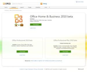 Strona programu Office 2010 beta niemal gotowa, ale łącza na razie prowadzą do nikąd...
